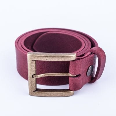 Mens burgundy belt for jeans