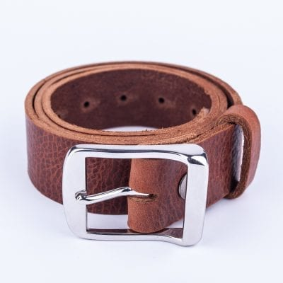 Mens dark tan belt for jeans