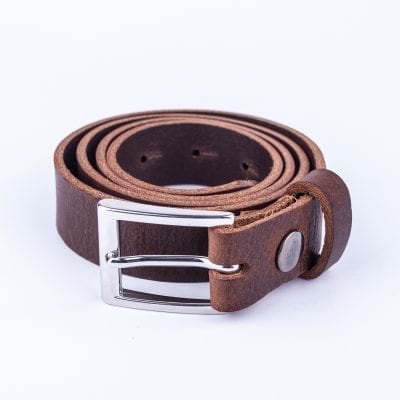 Dark brown leather belt to wear with mens suits