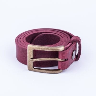 Burgundy leather belt to wear with mens suits