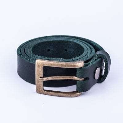 Green leather belt to wear with mens suits