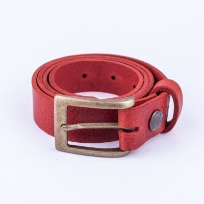 Red leather belt to wear with mens suits