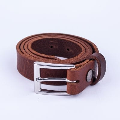 Dark tan leather belt to wear with mens suits