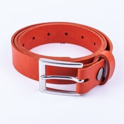 Orange leather dress belt for ladies