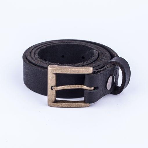 Black leather dress belt for ladies
