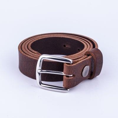 Dark brown leather dress belt for ladies