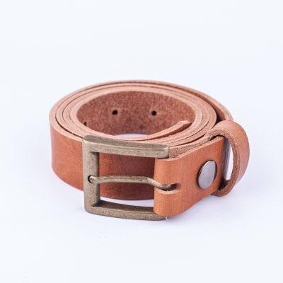 Tan leather dress belt for ladies
