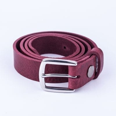 Burgundy leather dress belt for ladies