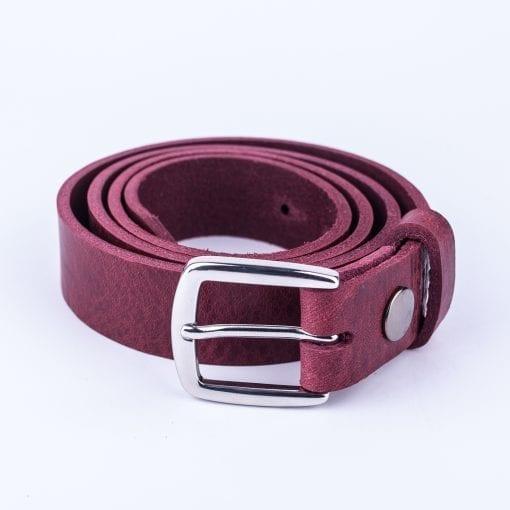 Burgundy leather dress belt for ladies