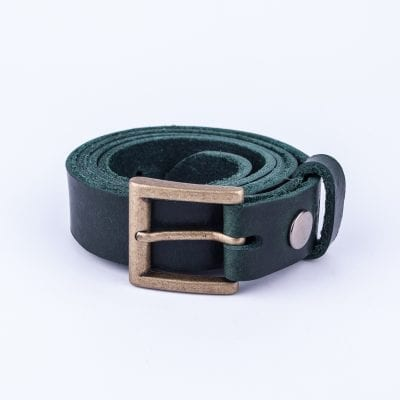 Green leather dress belt for ladies