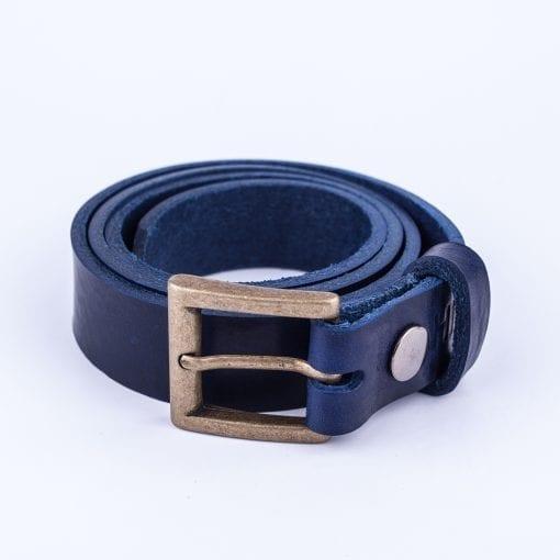 Blue leather dress belt for ladies