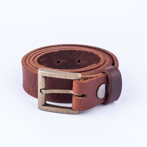 Mid brown leather dress belt for ladies
