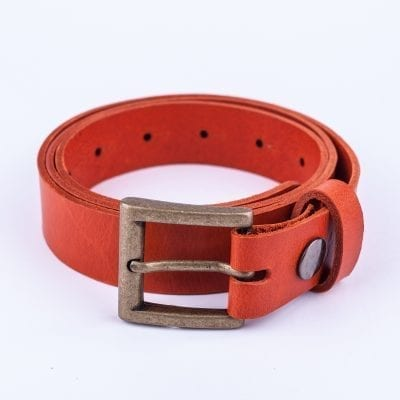 Orange leather dress belt for ladies