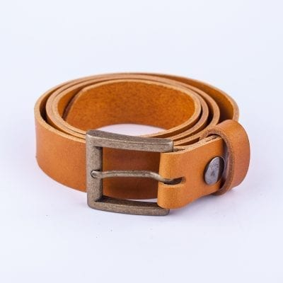 Yellow leather dress belt for ladies