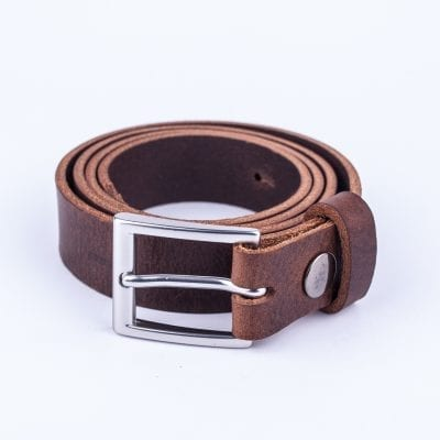 Dark brown leather dress belt for ladies