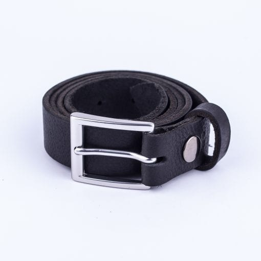 Black leather dress belt for ladies