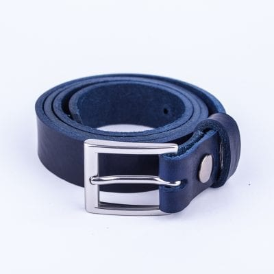 Blue leather dress belt for ladies