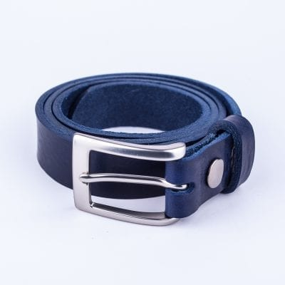 Blue leather belt to wear with mens suits