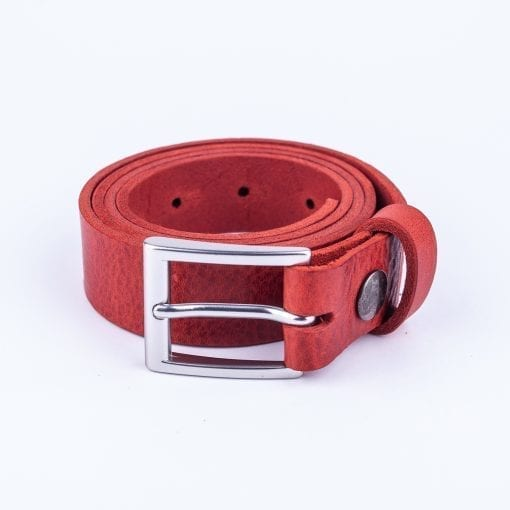 Red leather dress belt for ladies