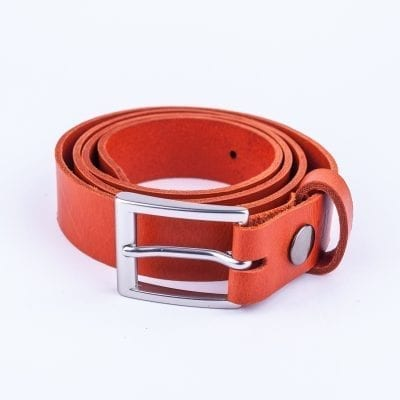Orange leather belt to wear with mens suits