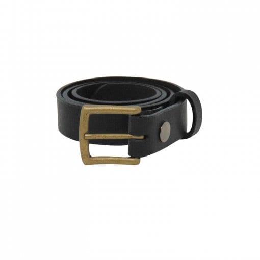 Black leather dress belt for men