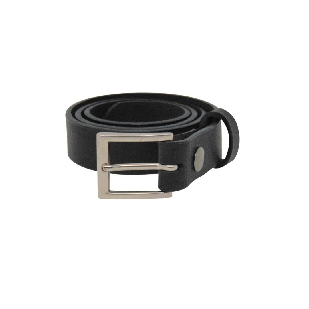 Mens black leather dress belt with a brushed silver buckle - Hip ... 8eb288af6396