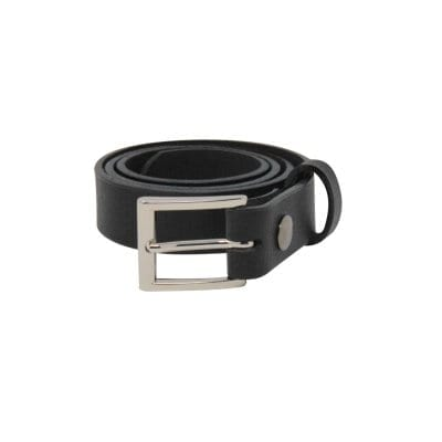 Black leather dress belt for men
