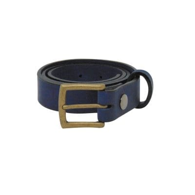 Blue leather dress belt for men