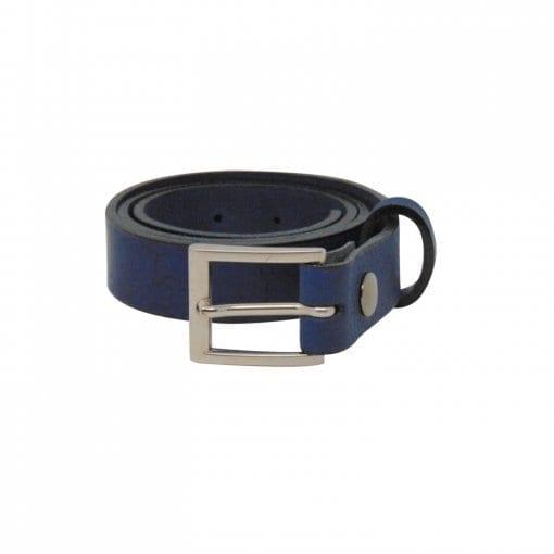 Blue leather dress belt for men