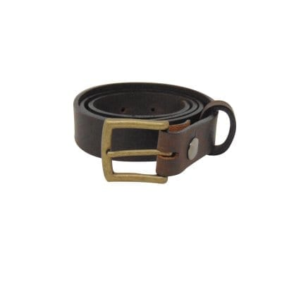 Brown leather dress belt for men