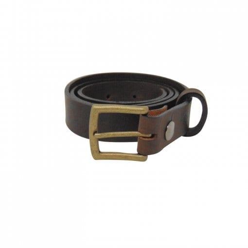 Brown leather dress belt for men