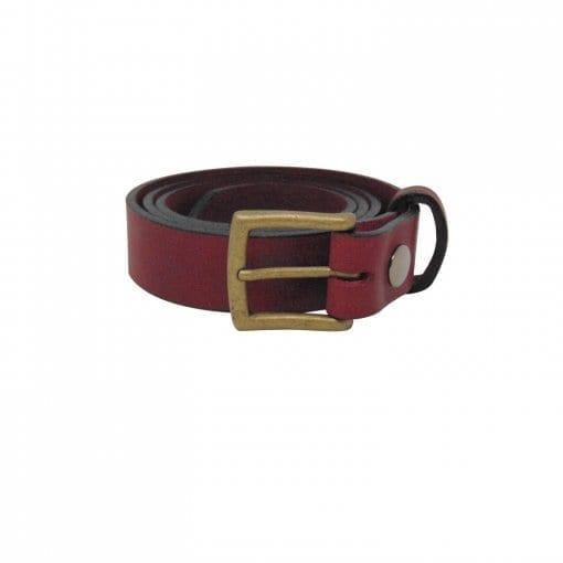 Burgundy leather dress belt for men