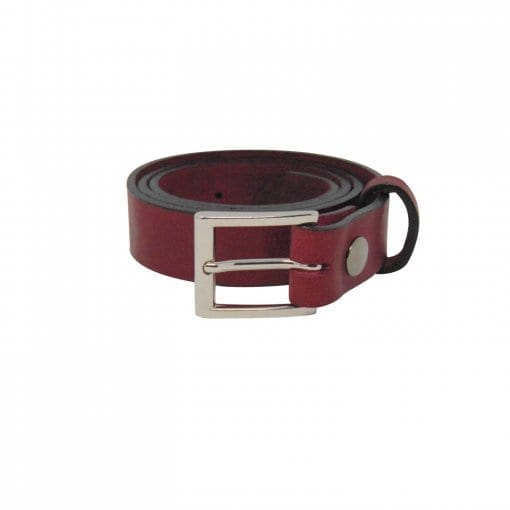 Burgundy leather dress belt for men