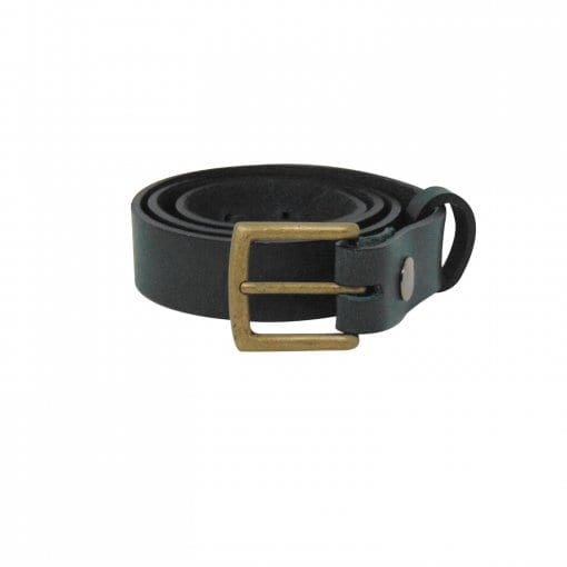 Green leather dress belt for men