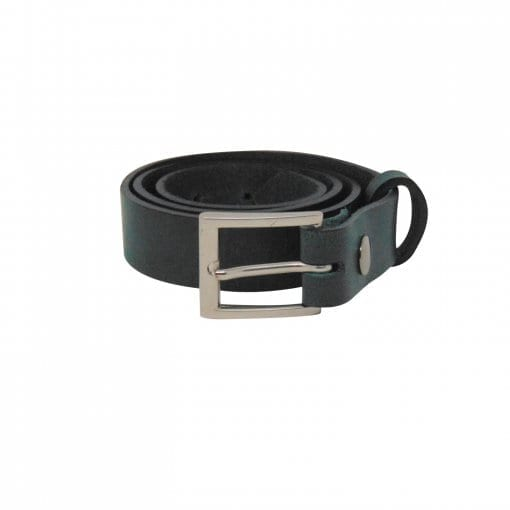 Green leather dress belt for men
