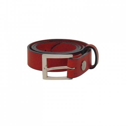 Red leather dress belt for men