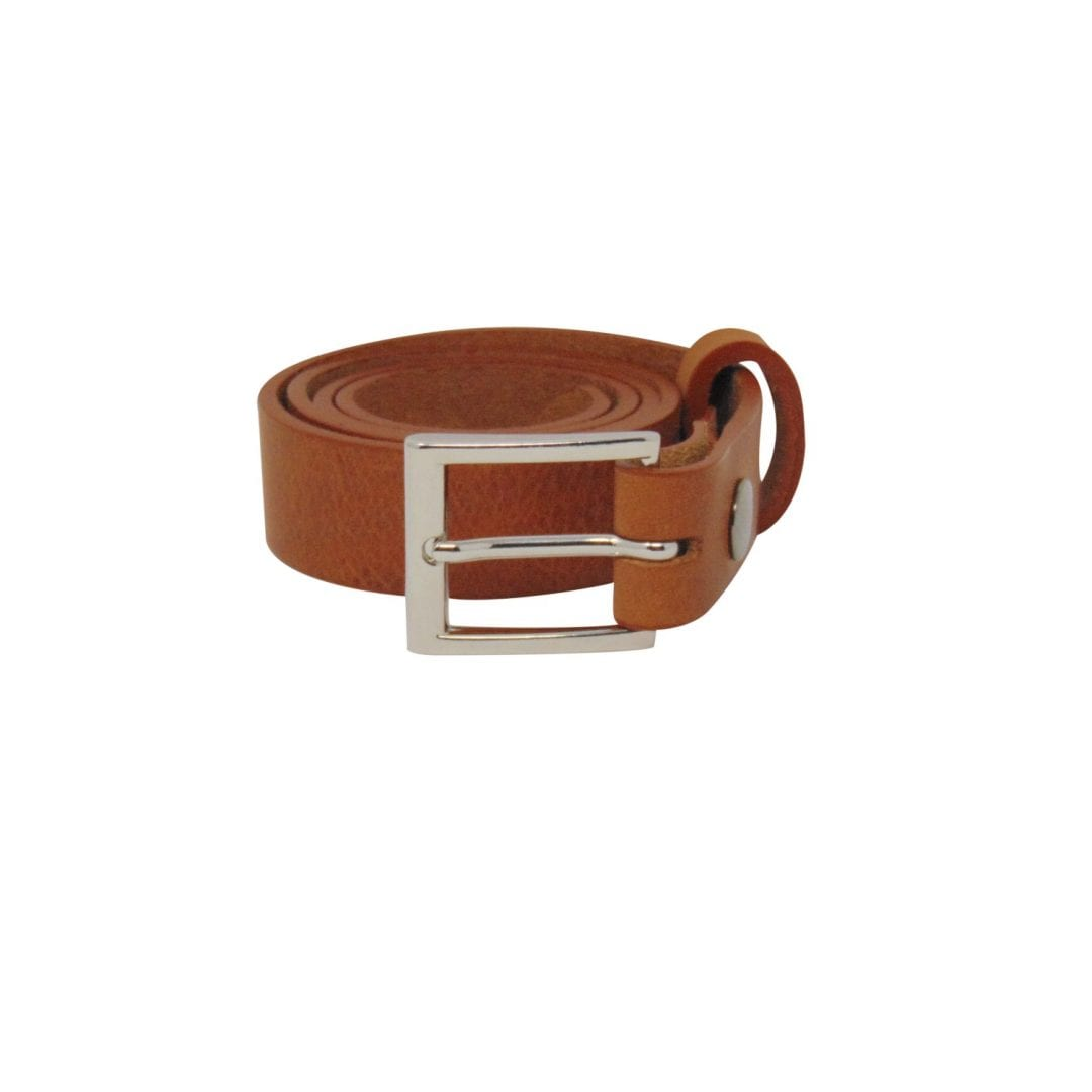 Mens tan leather dress belt with a chrome buckle - Hip   Waisted ... 41a0855d2030