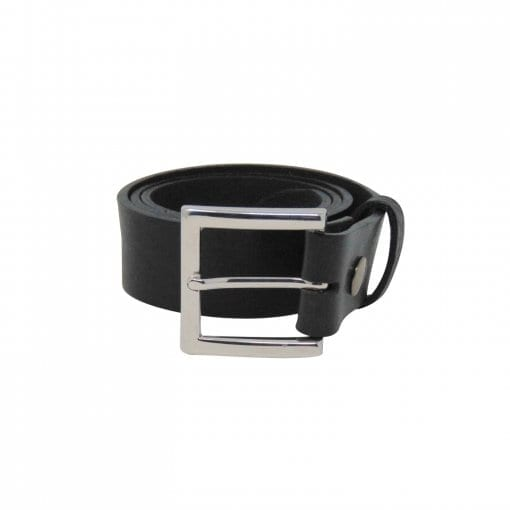 Black leather jeans belt for men
