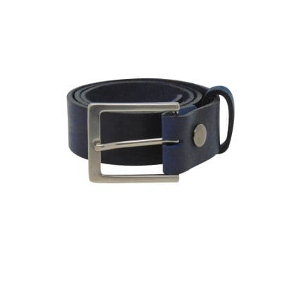Blue leather jeans belt for men