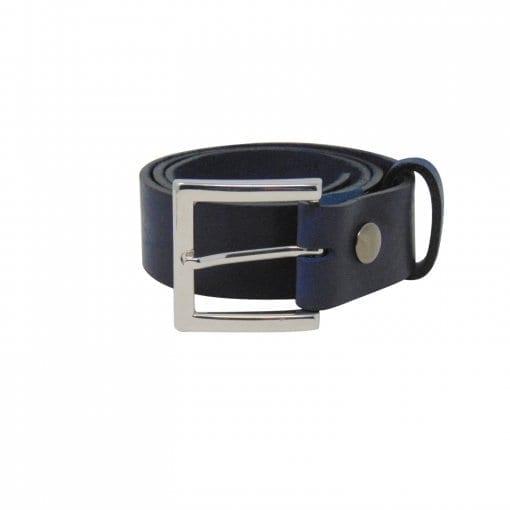 Blue leather jeans belt for men