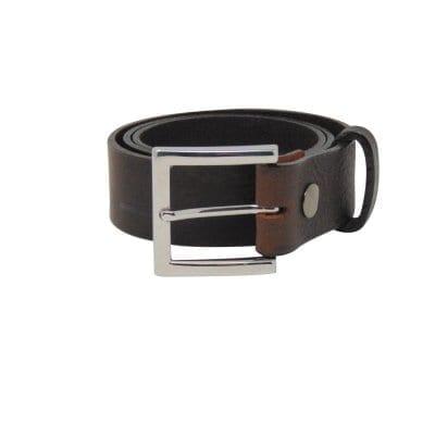 Black leather jeans belt for men