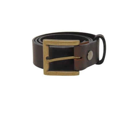Brown leather jeans belt for men