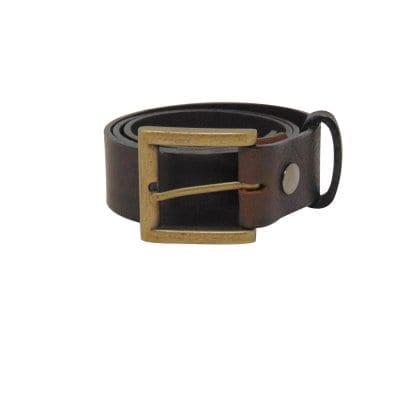 Brown leather jeans belt for men