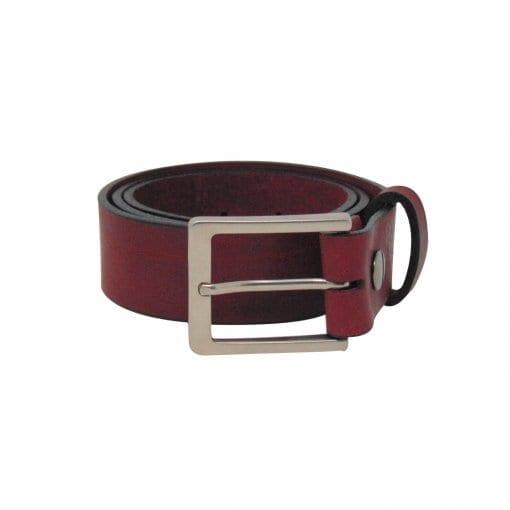Burgundy leather jeans belt for men