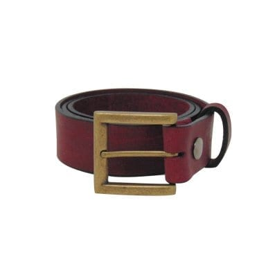 Burgundy leather jeans belt for men