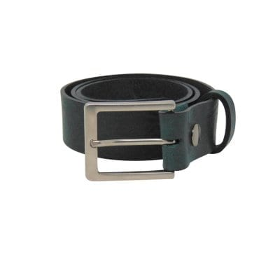 Green leather jeans belt for men