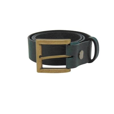 Green leather jeans belt for men