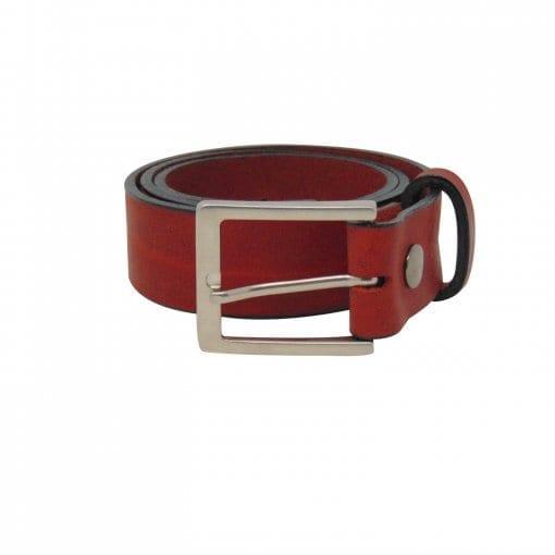 Red leather jeans belt for men