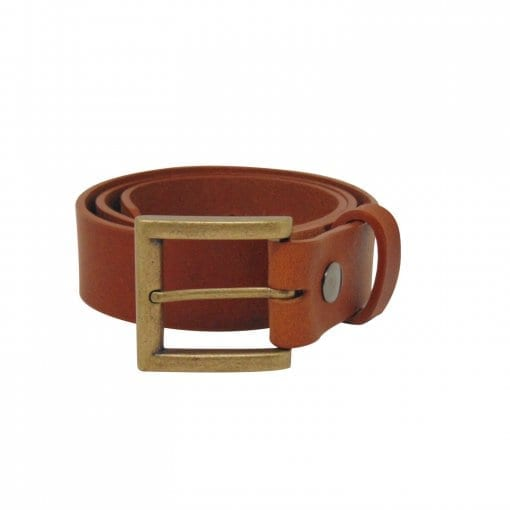 Tan leather jeans belt for men