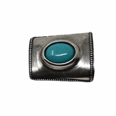 Removable turquoise belt buckke